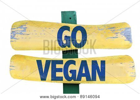 Go Vegan sign isolated on white
