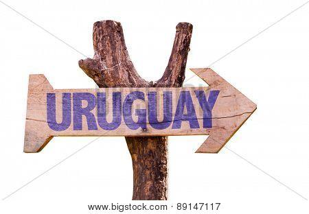 Uruguay Flag wooden sign isolated on white background