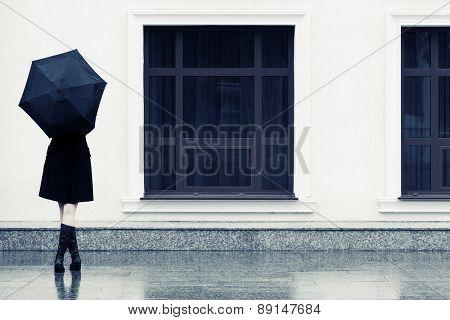 Fashion woman with umbrella in the rain