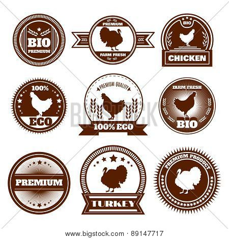 Eco farm chicken turkey emblems