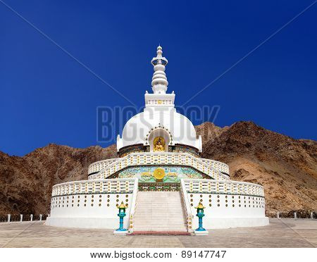 Tall Shanti Stupa Near Leh, Ladakh, Jammu And Kashmir