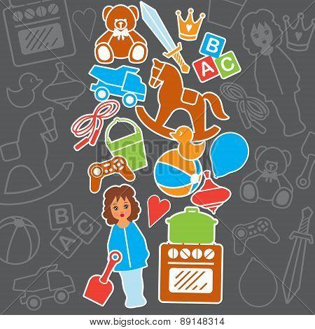 Children Toys Gift Shop Birthday Card, Vector Illustration
