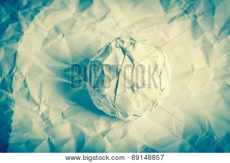 Paper Ball On Wrinkled Paper
