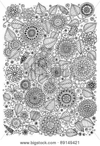 Black and white pattern for adults or kids coloring book .