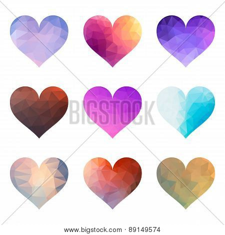 Set Of Vector Polygon Hearts
