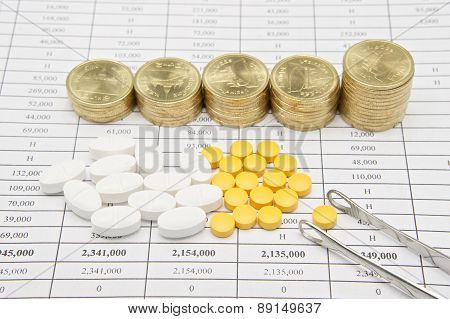 Silver Forceps And Pill With Step Pile Of Gold Coins