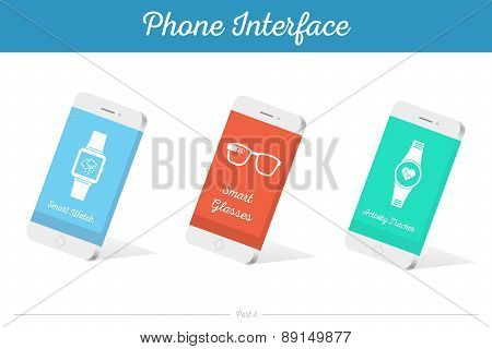 Interface Vector 3D Smartphone Models With Media Symbols