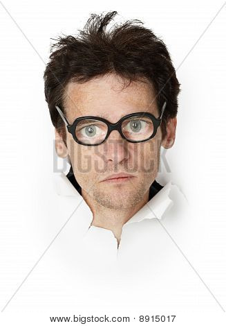 Funny Man In An Old-fashioned Spectacles