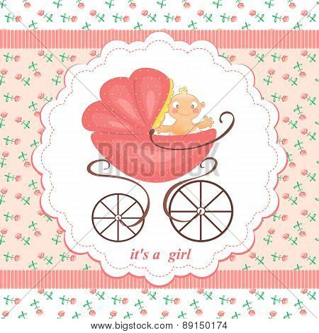 A Little Girl In A Stroller On An Abstract Background In Child Pink Flower. Pink Stroller With The B