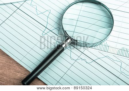 Magnifying Glass With Financial Graph