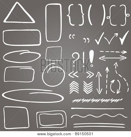 Set Of Hand Drawn Correction Elements