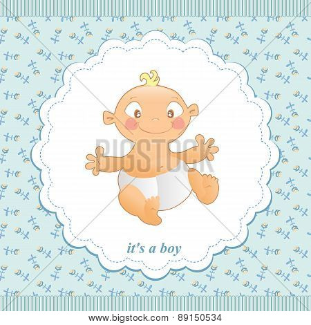 Children's Background From The Flowers With A Small Child In A Frame. Baby Background For Baby Boy.