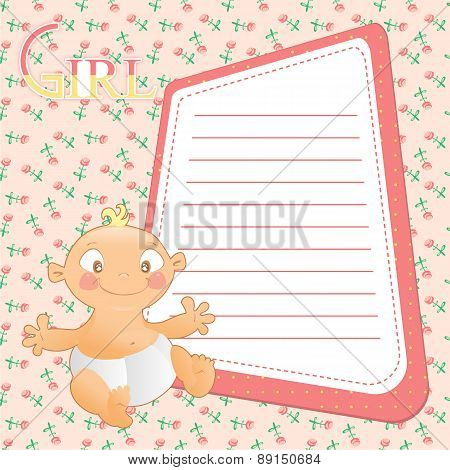 Baby With Frame For Your Text On Seamless Pink Background With Flowers.