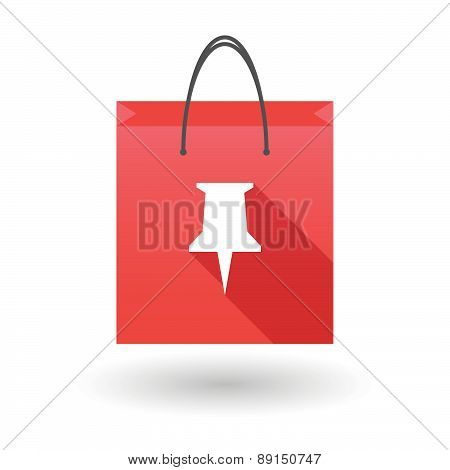Red Shopping Bag Icon With A Push Pin