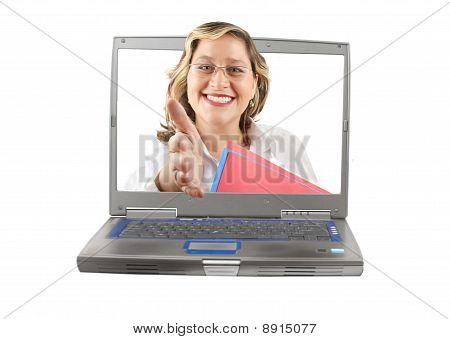 Woman Computer Handshake