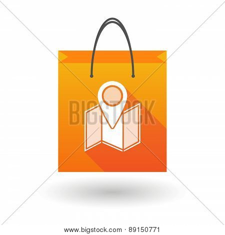 Orange Shopping Bag Icon With A Map