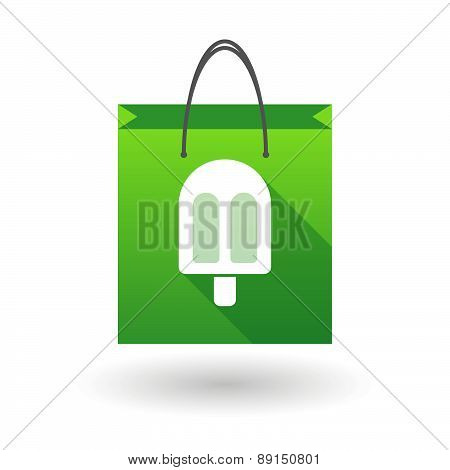 Green Shopping Bag Icon With An Ice Cream