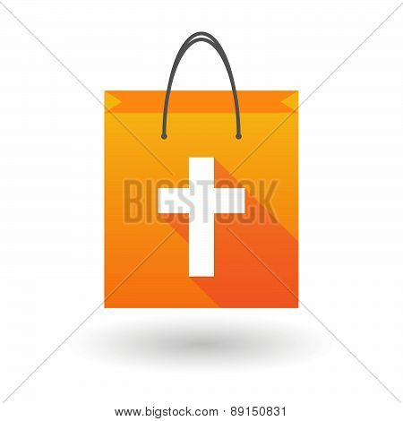 Orange Shopping Bag Icon With A Christian Cross