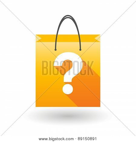 Yellow Shopping Bag Icon With A Question Sign