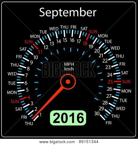 2016 year calendar speedometer car. September. Vector illustrati