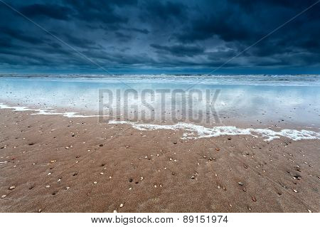 Sand Beach At Storm On North Sea