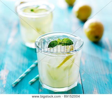 ice cold fresh lemonade in glass