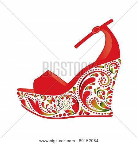 Beautiful sandals on a white background.