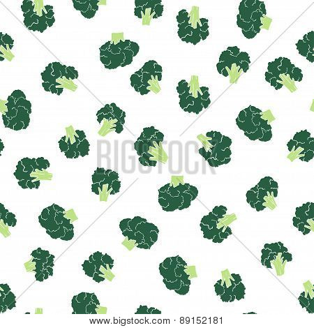 broccoli seamless pattern on the white backdrop
