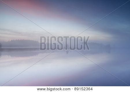Wild Lake At Misty Sunrise