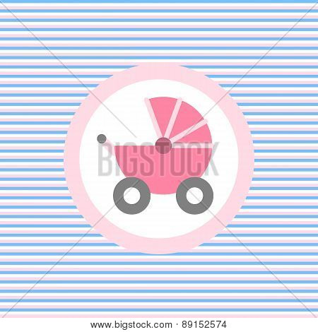 Baby Carriage Color Flat Icon