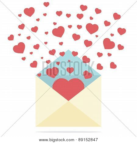 Hearts Spread Outside Mail's Envelope.