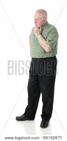 A senior adult man obviously contemplating.  On a white background.