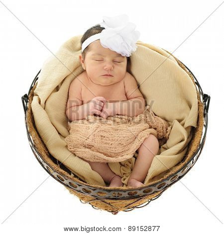 An adorable newborn girl sleeping comfortably in a round basket