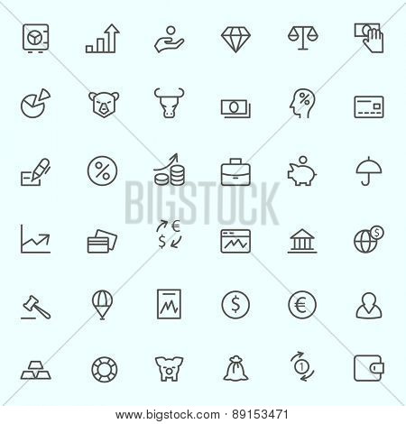 Finance icons, simple and thin line design