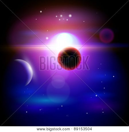Magic Space - planets, stars and constellations, nebulae and galaxies, lights