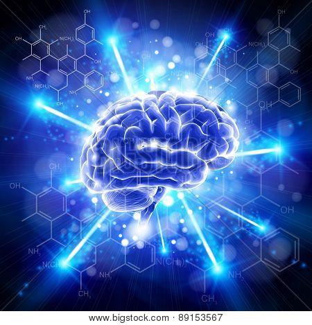 brain & formulas organic chemistry - blue technology concept