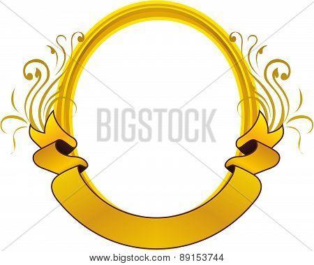 Gold Frame Floral Vector Oval