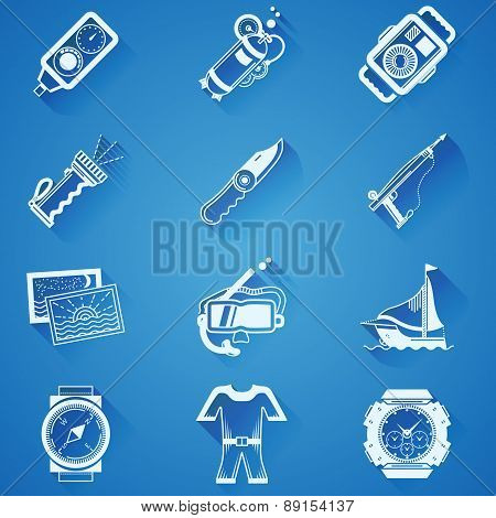 Diving sport white vector icons