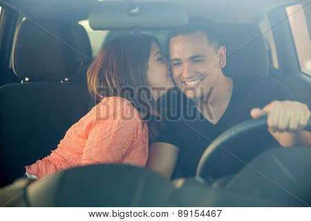 Cute Girl Kissing The Driver
