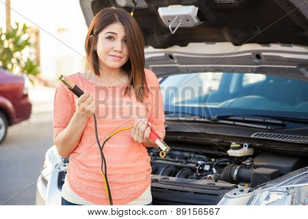 Cute Girl With Some Car Trouble