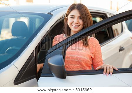 Happy Girl Getting Into A Car