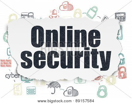 Security concept: Online Security on Torn Paper background