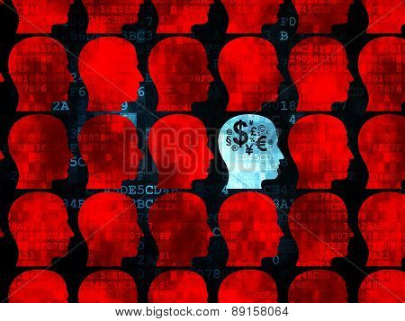 Finance concept: head with finance symbol icon on Digital background