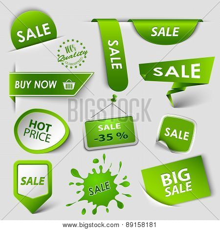 Collection Web Green Pointers Labels For Shopping