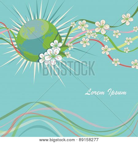 Planet earth with spring flowers and curly ribbons