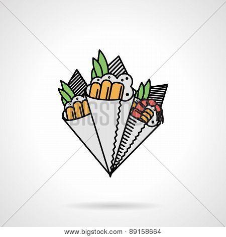Flat vector icon for temaki sushi