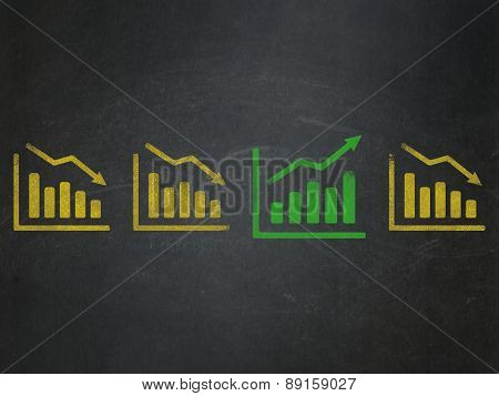 Business concept: growth graph icon on School Board background