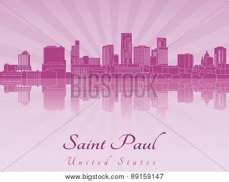 Saint Paul Skyline In Purple Radiant Orchid