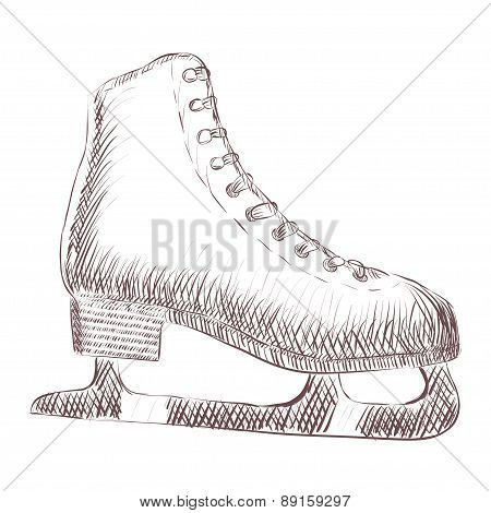 Vetor sketch of skates hand drawing