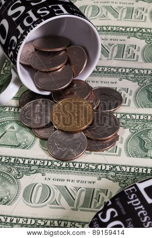 One Coffee Cup And Us Dollars